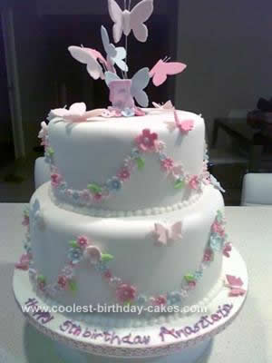 Homemade Butterfly Birthday Cake