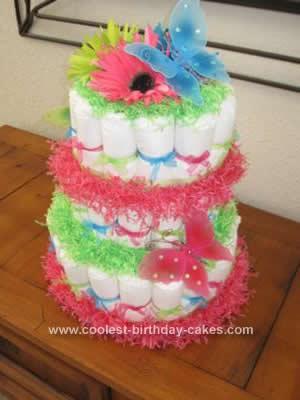 Homemade Butterfly Diaper Cake Design