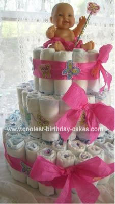 Homemade Butterfly Princess Baby Shower Diaper Cake