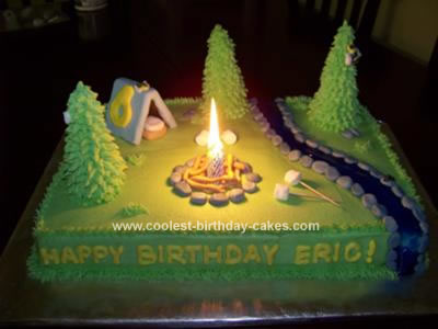 Homemade Camping Birthday Cake