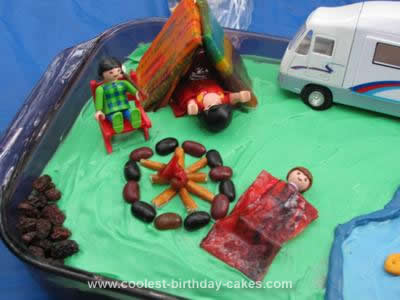 Homemade Camping Scene Birthday Cake