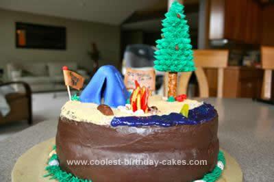 Homemade Camping Theme Cake