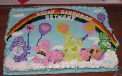 Homemade Care Bear Birthday Cake