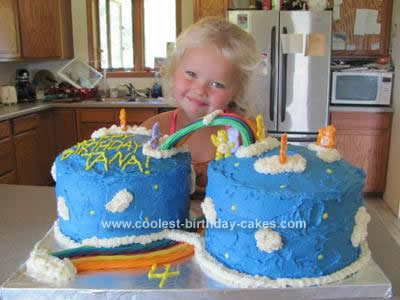 Homemade Care Bear Birthday Cake Idea