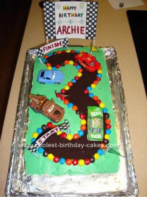 Homemade Cars 3rd Birthday Cake