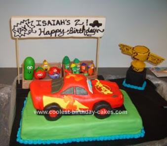 Homemade Veggie Tales & Cars Cake