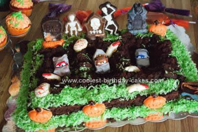 Homemade Cars Graveyard Cake