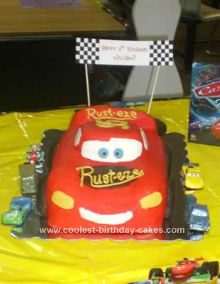 Homemade Cars Lightning McQueen Birthday Cake
