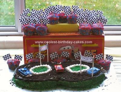 Homrmade Cars Racetrack Birthday Cake