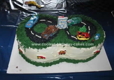 Homemade Cars Racetrack Birthday Cake