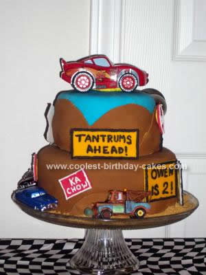 Homemade  Cars Road Birthday Cake