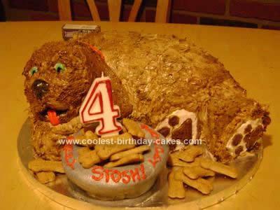 Homemade Carved Doggie Birthday Cake