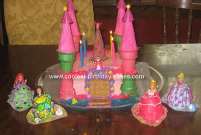 Disney Princess Birthday Cake on Coolest Castle Cake With Mini Princess Doll Cakes 301