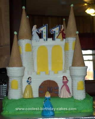 Homemade Castle Disney Princess Birthday Cake