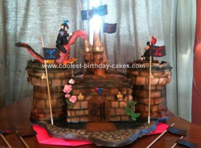 Homemade Castle Knight Birthday Cake