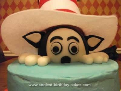 Homemade Cat in the Hat Birthday Cake