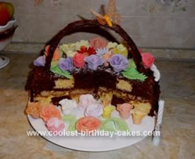 Homemade Checkerboard Flower Basket Cake