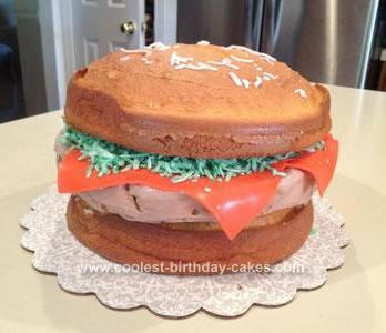 Homemade Cheddar Cheeseburger Frozen Yogurt Birthday Cake