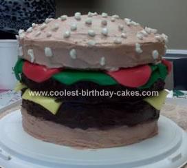 Homemade Cheeseburger Birthday Cake