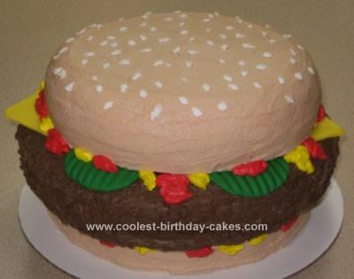 Homemade Cheeseburger Birthday Cake Design