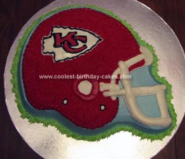 Homemade Chiefs Helmet Cake