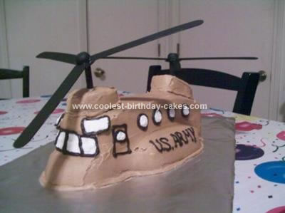 Homemade Chinook Helicopter Cake