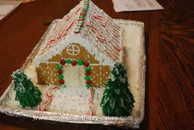 Homemade Christmas Gingerbread House Cake