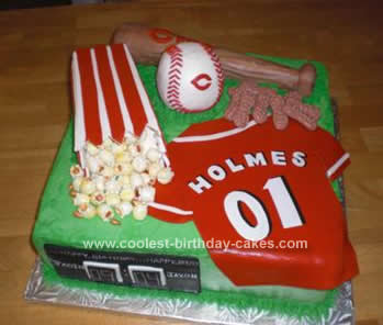 Homemade Cincinnati Reds Birthday Cake