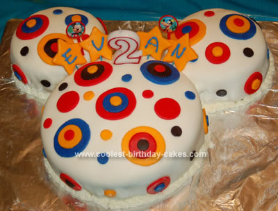 Homemade Circles Mickey Mouse Birthday Cake