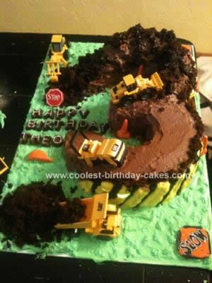 Homemade Construction 3rd Birthday Cake