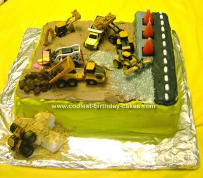 Homemade Construction Site Birthday Cake