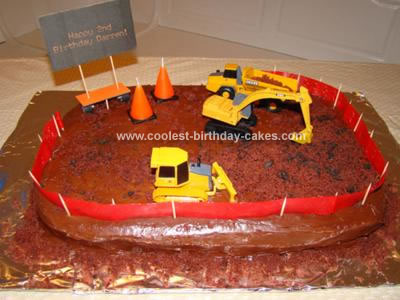 Homemade Construction Site Cake