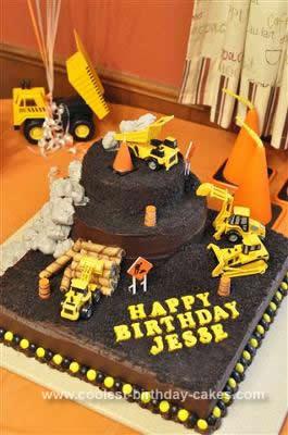 Homemade Construction Theme 1st Birthday Cake