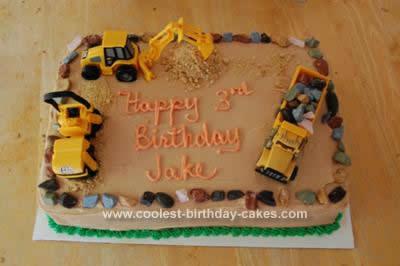 Homemade Construction Truck Birthday Cake