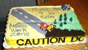 Homemade Construction Zone Birthday Cake