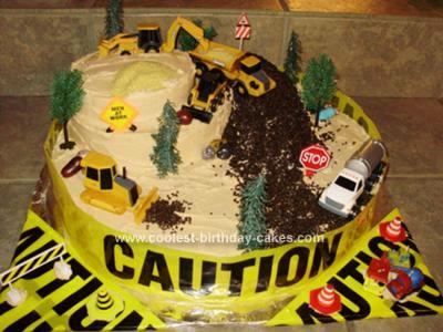 Homemade Construction Zone Birthday Cake