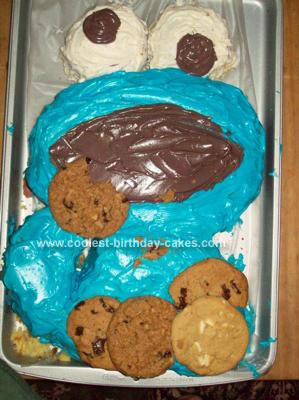 Homemade  Cookie Monster Birthday Cake