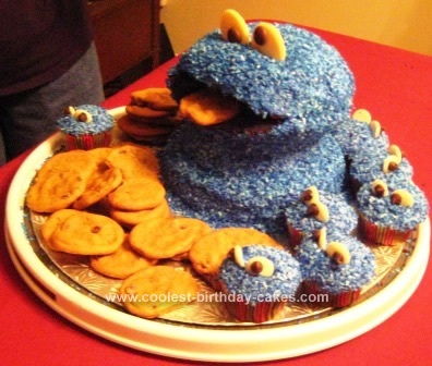 Homemade Cookie Monster Cake Design