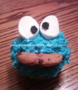 Homemade  Cookie Monster Eats his Cookie Cupcake