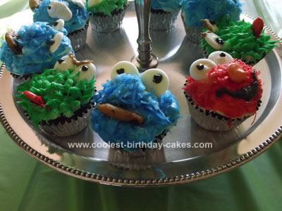 Homemade  Cookie Monster, Elmo, and Oscar the Grouch Cupcakes
