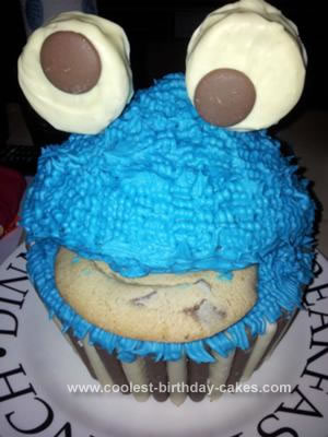 Homemade Cookie Monster Giant Cupcake Birthday Cake
