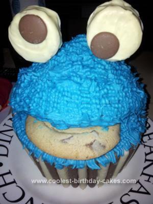 Homemade Cookie Monster Giant Cupcake Birthday Cake