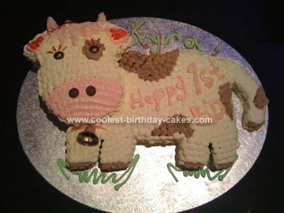Homemade Cow 1st Birthday Cake