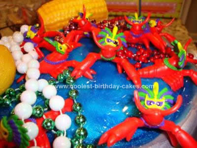 Homemade Crawfish Boil/Mardi Gras Birthday Cake