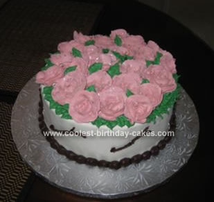 Homemade Cream Roses Birthday Cake
