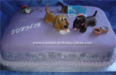 Homemade Dachshund Dog Birthday Cake
