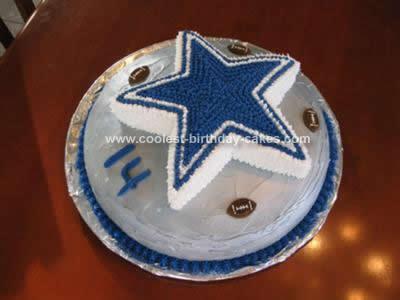 Homemade Dallas Cowboys Star Football Cake