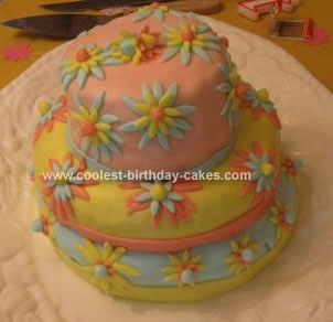 Homemade Daisy Flower Birthday Cake