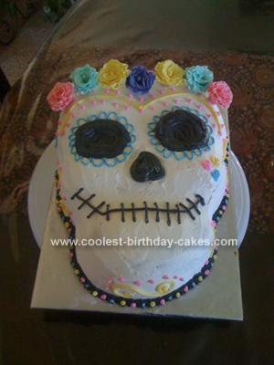 Homemade Dia De Los Muertos Birthday Cake