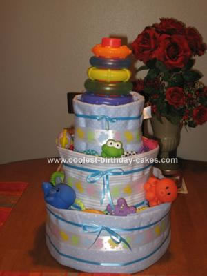 Homemade Diaper Cake 68 with Receiving Blankets